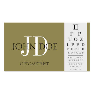 Optometrist Chart Antique Gold Business Card