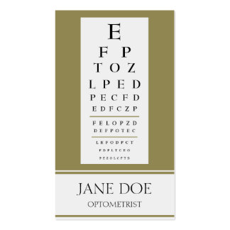 Optometrist Chart Antique Gold Business Cards