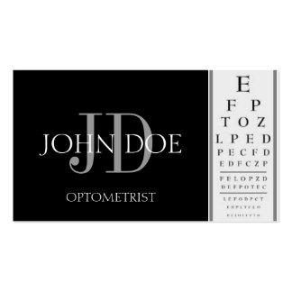 Optometrist Chart Black Business Cards