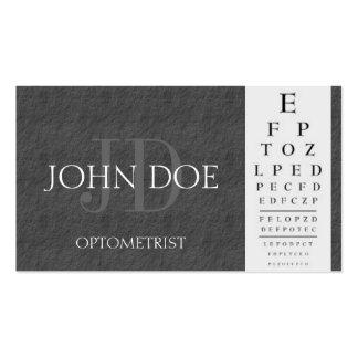 Optometrist Chart Dark Grey Slate Stone Business Card Template