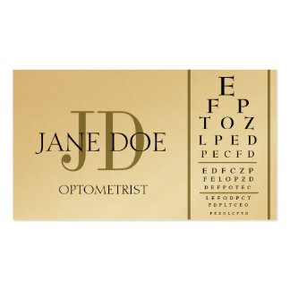 Optometrist Chart Deluxe Gold Business Card
