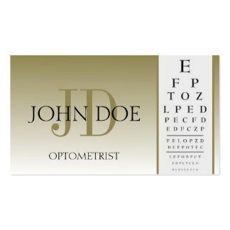 Optometrist Chart Eye Doctor Gold Fade Monogram Business Card Template