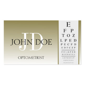 Optometrist Chart Eye Doctor Gold Fade Monogram Business Card