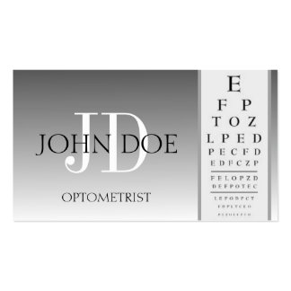 Optometrist Chart Eye Doctor Silver Fade Monogram Business Card Template