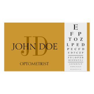 Optometrist Chart Gold Business Cards