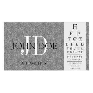 Optometrist Chart Monogram Blue Grey Marble Business Card