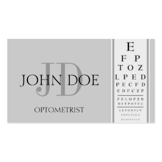 Optometrist Chart Silver Business Card Template