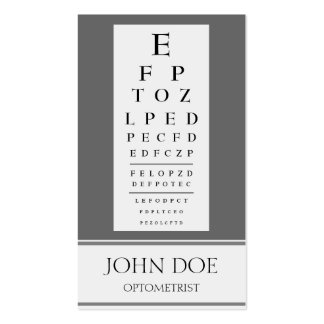 Optometrist Chart Stripes Grey Business Card Template