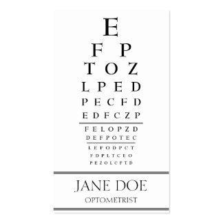 Optometrist Chart Stripes White Business Card