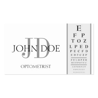 Optometrist Chart White Business Card Templates