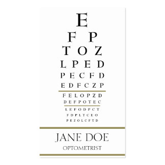 Optometrist Chart White/Gold Stripes Business Card Template