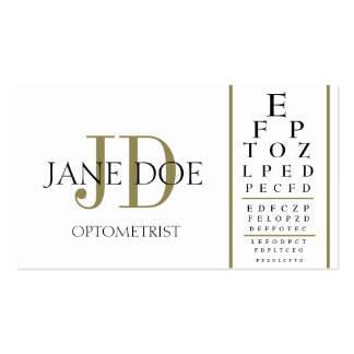 Optometrist Chart White/Gold Stripes Business Cards