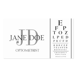 Optometrist Chart White/Silver Stripes Business Card Template