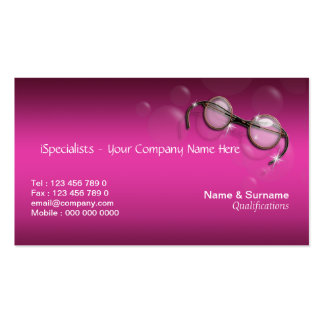Optometrist optician pink stylish business card templates