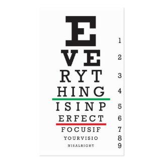 Optometry Eye Chart Business Cards
