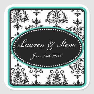 Opulent Damask Stickers- Blue Square Sticker