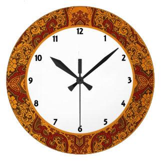 Opulent Oriental Silk Large Clock