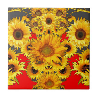 Opulent Red-Grey-Gold Sunflowers Pattern Small Square Tile