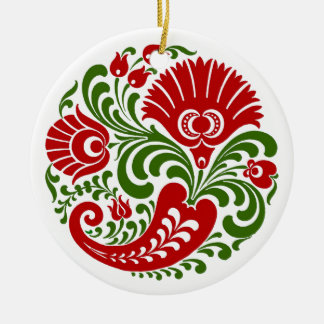 OPUS Hungarian Paprika Flower Embroidery Ceramic Ornament