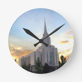 Oquirrh Mountain LDS Utah Temple sunset Wallclock