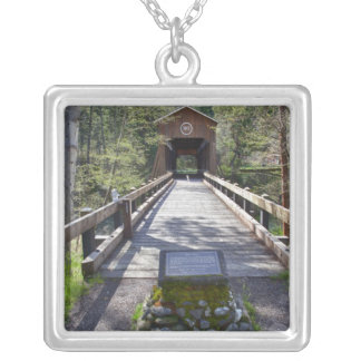 OR, Jackson County, McKee Covered Bridge Square Pendant Necklace