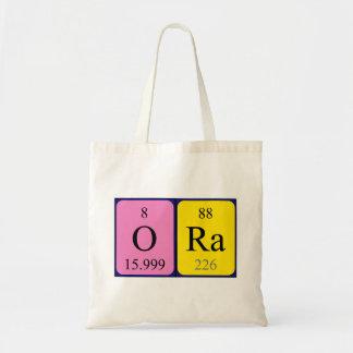 Ora periodic table name tote bag