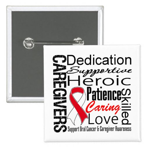 Oral Cancer Caregivers Collage Pinback Button
