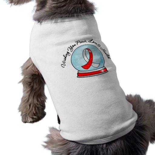 Oral Cancer Ribbon Merry Christmas Snowglobe Dog T-shirt