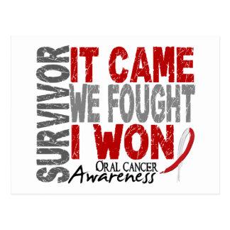Oral Cancer Survivor It Came We Fought I Won Postcard