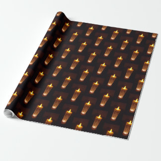 Orane Yellow Candles Candlelight Diwali Christmas Wrapping Paper