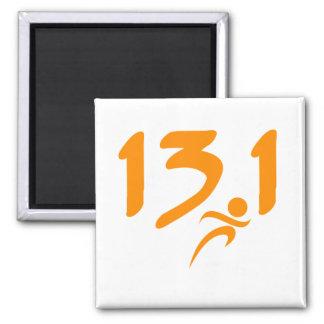 Orange 13.1 half-marathon square magnet