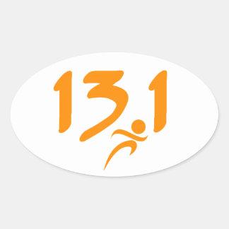 Orange 13.1 half-marathon oval sticker