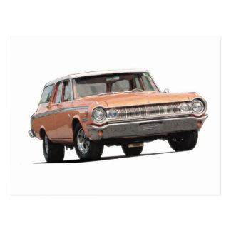 Orange 1964 Dodge Station Wagon Postcard
