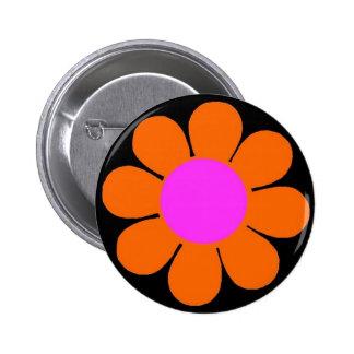 Orange 60 s Flower Power Pin