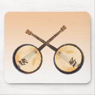 Orange Abstract Banjo Music Instrument Mousepad