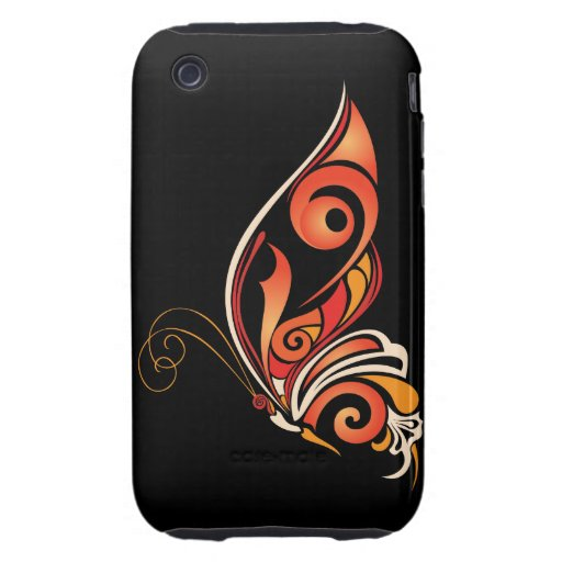 Orange Abstract Butterfly Tough iPhone 3 Cover