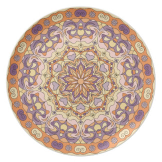 Orange abstract circular pattern Melamine Plate