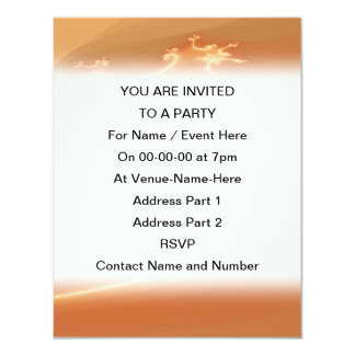 Orange Abstract Design. 11 Cm X 14 Cm Invitation Card