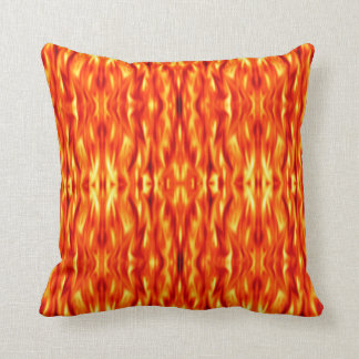 Orange Abstract Fire Throw Pillow