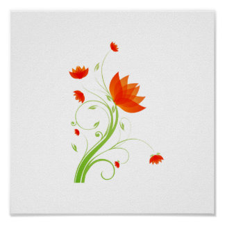 orange abstract flower eco graphic.png posters