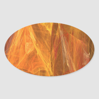 Orange Abstract Fractal Oval Sticker