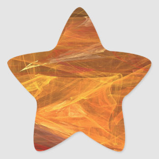 Orange Abstract Fractal Star Sticker