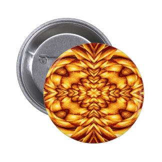 Orange Abstract Kaleidoscopic Fractal 6 Cm Round Badge