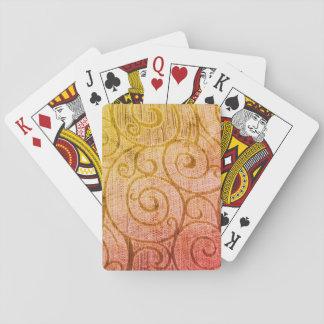 Orange Abstract Spiral Poker Deck