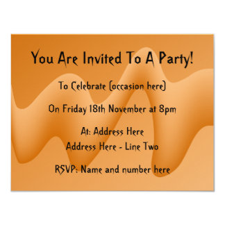 Orange Abstract Wave Image. 4.25x5.5 Paper Invitation Card