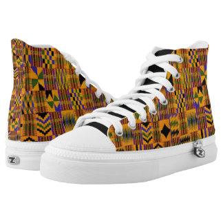 Orange African Boss shoes by Terrance L Burton Jr. Printed Shoes