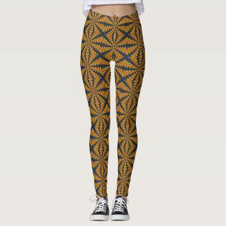 Orange African Daisy Leggings