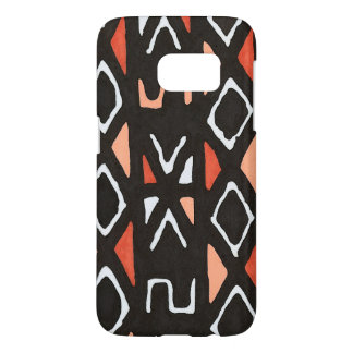 Orange African Mudcloth Tribal Print