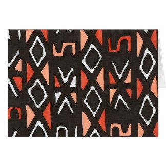Orange African Mudcloth Tribal Print Card
