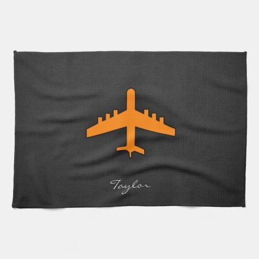 Orange Airplane Towel